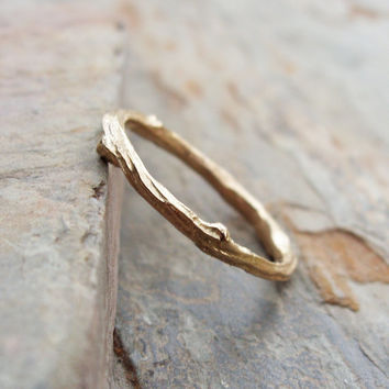 Solid 14k Yellow Gold Twig Wedding Band or Stacking Ring - Tree Branch or Vine Commitment / Promise Ring