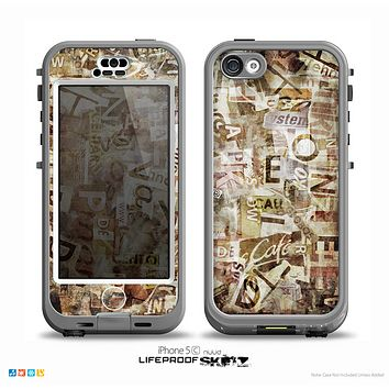 The Vintage Torn Newspaper Collage Skin for the iPhone 5c nüüd LifeProof Case