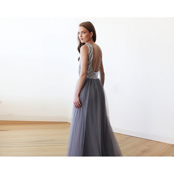 Sleeveless Silver and Grey Sequins Maxi Tulle Dress with Open-Back