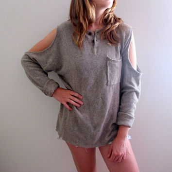 Shrug Bohemian Sweater Shoulderless Womens Tunic Cardigan Fall Winter Distressed Boho Grunge Style Grey Gray