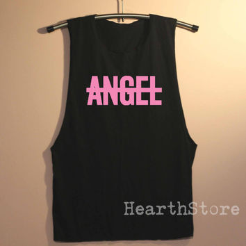No Angel Shirt Muscle Tee Tank Top TShirt T Shirts Top  Women - size S M L