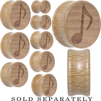 Music Note Plug Saddle Plug in Organic Beech Wood