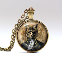 Steampunk jewelry Cat pendant Victorian necklace SNW12