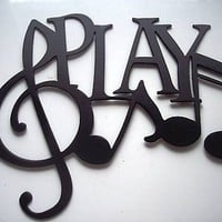 Play Word with Notes Metal Wall Art Music Decor
