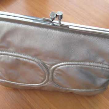 Vintage silver clutch purse made in Hong Kong