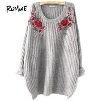 Embroidery Floral Sweater Pullovers Women Grey Patch Sweaters Fall Fashion Long Sleeve Loose Casual Jumper Sweater
