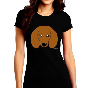 Cute Doxie Dachshund Dog Juniors Crew Dark T-Shirt by TooLoud