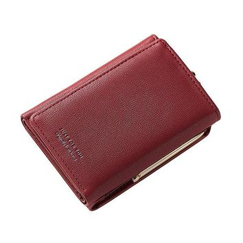 Women Trifold PU Solid Multi-Function Wallet 7 Card Slot