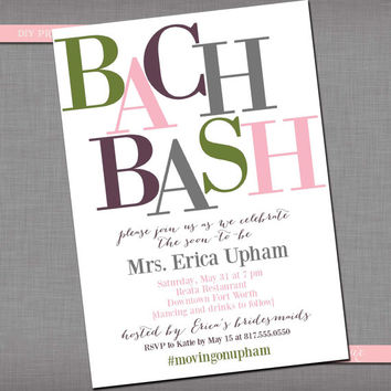 Bachelorette Party/Bridal Shower Invitation -- Customized DIY Printable Invitation