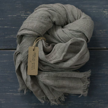 Linen Scarf With Soft Fringe