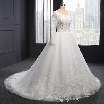 Real Photo Custom Made Vestido De Noiva 2016 Wedding Dress Sequin Ball Gown Sexy Perspective Tulle full Sleeve Wedding Gown