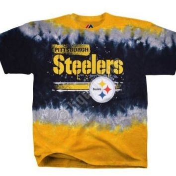 V0NE05TF NFL Pittsburgh Steelers Horizontal Stencil Tie-Dye T-Shirt