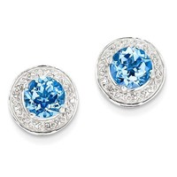 Sterling Silver Light Swiss Blue Topaz & Diamond Halo Post Earrings