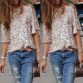 Stylish Sequin Casual Simple T-Shirt