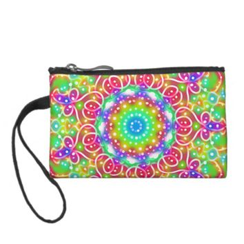 Pink Flowers Key Coin Clutch