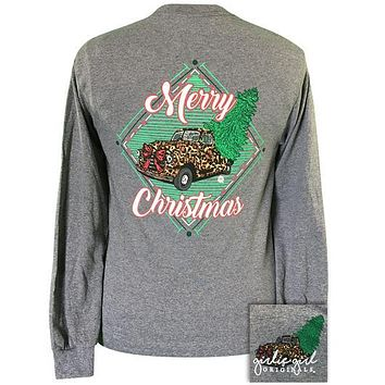 Girlie Girl Originals Preppy Merry Christmas Leopard Truck Tree Long Sleeve T-Shirt