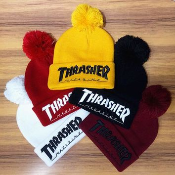 DCCKUNT Winter Unisex Fluffy Thrasher Embroidery Knit Beanies Hat