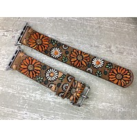 Leather Apple Watch Band Sunflower and Daisies