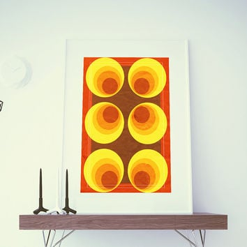 Mid Century Modern Print Geometric Retro Circle Vintage Retro Abstract Art Print Poster Giclee on Cotton Canvas and Paper Canvas Wall Decor