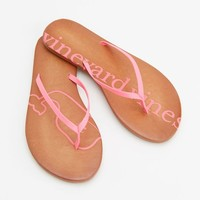 Printed Neon Logo Leather Flip Flops