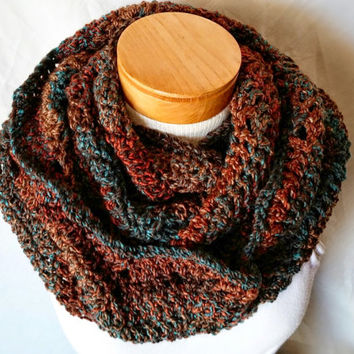 Southwest cowl scarf Chunky crochet chevron infinity Turquoise Brown Orange Unisex ladies mens Fall colors Long Loop circle