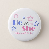 Gender reveal baby shower he or she baby shower button