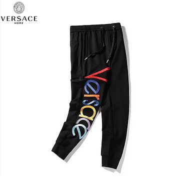 Versace New fashion embroidery multicolor letter high quality  couple pants Black
