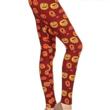 Women's Pumpkin Leggings Thanksgiving Pumpkins Orange/Black: OS/PLUS