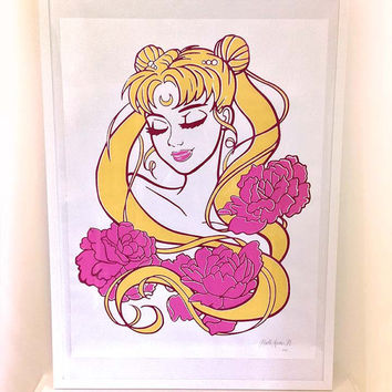 Princess Serenity | Screen Print | Illustrated Hand Printed Poster | 18 x 24