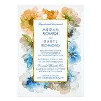 Navy and Gold Floral Watercolor Fall Wedding Card