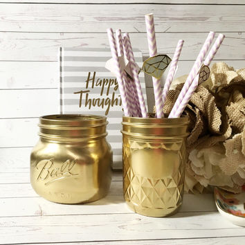 Gold Desk Accessory - Cute Office Accessories - Gold Office Decor - Chic Office   - Gold Mason Jars - Gold Vase -