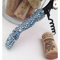 "Swarovski Crystal Encrusted Wine-""Oh!"" Wine Opener, Baby Blues"