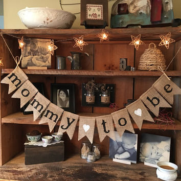 Burlap Mommy To Be Banner, Baby Shower Decoration, Baby Girl Bunting, Baby Boy Bunting, Pregnancy Photo Prop, Shower Decor, Rustic Bunting