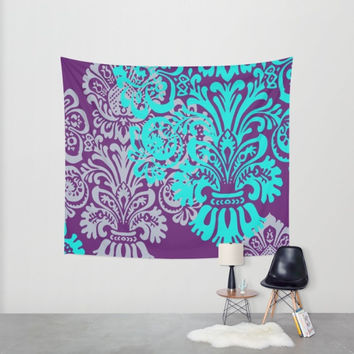 Purple + Teal Damask Tapestry Wall Hanging, Dorm Tapestry, Home Wall Decor, Country Decor for Girls, Indoor Outdoor Tapestry, Wedding Decor