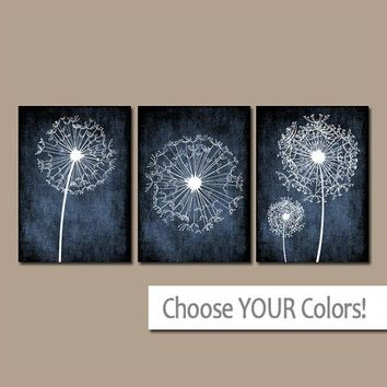 DANDELION Wall Art, Bedroom Pictures, Flower Navy Blue, Grunge Background, CANVAS or Prints, Bathroom Dorm, Set of 3, Home Decor Wall Decor