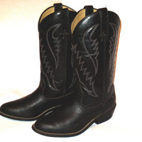 Vintage Black Leather Cowboy Boots - Men's Shoe Size US 9.5