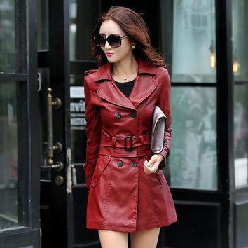 Leather Trench 2 in 1 Coat 4 Colors