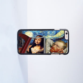 Mona Lisa and Van Gogh Smoking Plastic Case Cover for Apple iPhone 6 Plus 4 4s 5 5s 5c 6