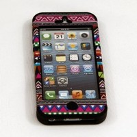 SECTOR7INDUSTRIES 3 PIECE BLACK TRIBAL SILICONE HIGH IMPACT QUALITY HARD CASE COVER FOR IPHONE 5+STYLUS+SCREEN PROTECTOR