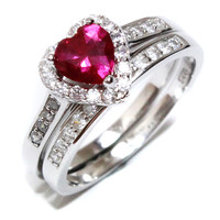 Ruby Heart Promise Ring With Band – Red Cubic Zirconia