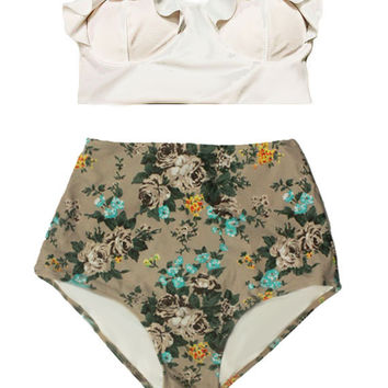 White Midkini Top and Cream Rose High Waisted Highwaisted Bottom Cheap Woman Women Swimsuit Swimwear Bikini set sets Bathing suit S M L XL