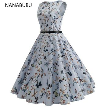 NANABUBU Vintage Dress Sleeveless Hepburn a Line Zipper Retro Casual Prom Party Butterfly Floral Print Vintage Dresses 50s 60s