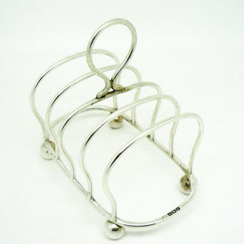 Solid Silver Toast Rack, Sterling, Letter, English, Antique, 5 Bar, Hallmarked Sheffield 1906, REF:237G