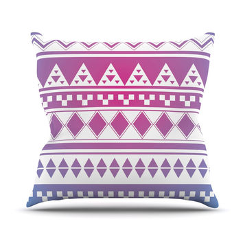 "Belinda Gilles ""Rainbow Aztec"" Purple Blue Throw Pillow"