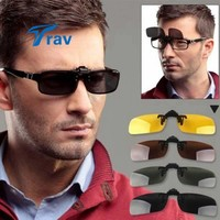 Driving Polarized UV 400 Night Vision Clip-on Flip-up Lens Sunglasses Glasses 3Color