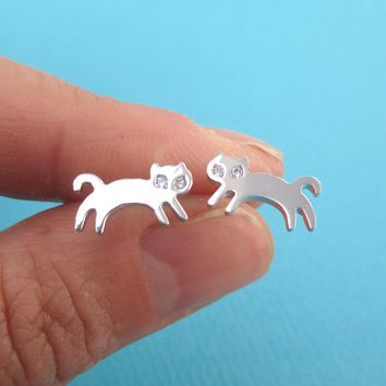 Jumping Kittens Cat Shaped Allergy Free Stud Earrings in Silver
