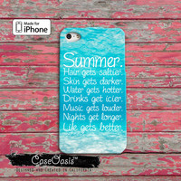 Summer Quote Blue Tumblr Inspired Hair Gets Saltier Skin Gets Darker iPhone 4/4s Case and iPhone 5 and 5s and 5c Case iPhone 6 and 6 Plus +