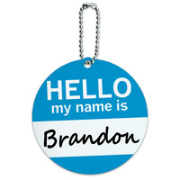 Brandon Hello My Name Is Round ID Card Luggage Tag