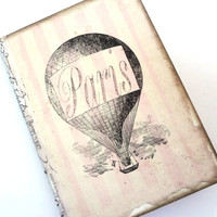 Paris Travel Journal, Paris Notebook, Hot Air Balloon, Paris Diary, Steampunk, French, Pale Pink Stripes, Cottage Chic Paris Journal
