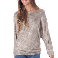 GOLDEN SWEATER WITH OFF SHOULDER IN SERPENT PRINT